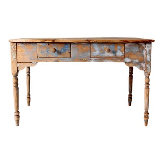 Antique Primitive Table With Drawers For Sale