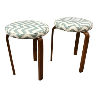 Vintage Alvar Aalto 3 Legged Stools With Upholstered Zig Zag Light Turquoise Cushion