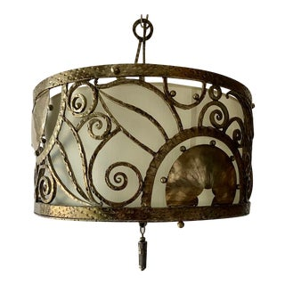 Nickel Plated 4 Light Solid Brass Pendant Light For Sale