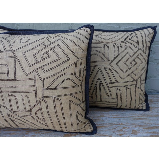 African Geometric Kuba Cloth Pillows - A Pair For Sale - Image 3 of 10
