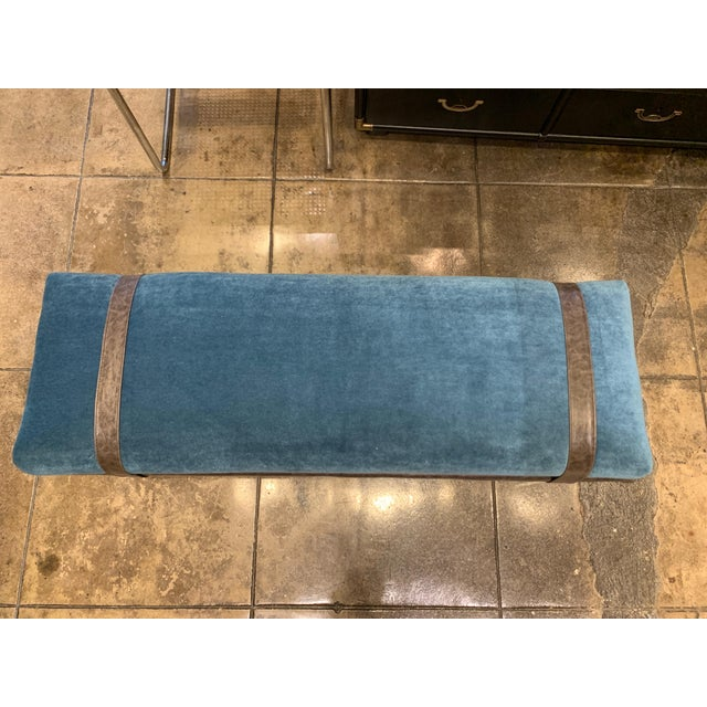 Cerulean Vintage Chrome and Leather Bench With Mohair Cushion For Sale - Image 8 of 11