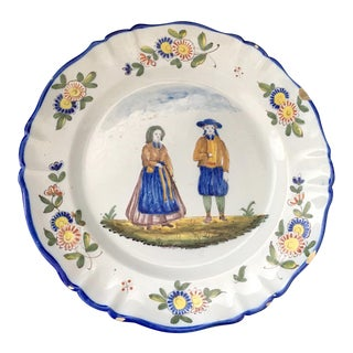 Late 19th Century Antique Quimper French Faience Platter For Sale