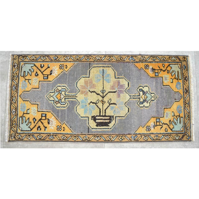 Distressed Low Pile Turkish Yastik Petite Rug Faded Colors Mat - 18'' X 37'' For Sale - Image 4 of 4