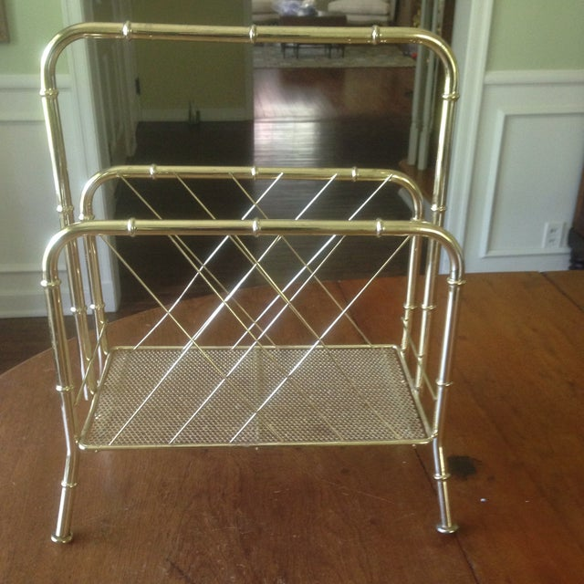Vintage Faux Bamboo Gold Magazine Rack For Sale - Image 4 of 11