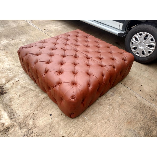 New showroom model leather tufted ottoman. Makes a wonderful addition to your home and office. Made in USA We can make...