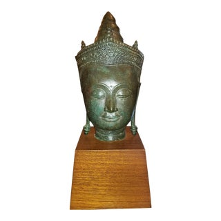 19th C. Thai Bronze Buddha Head on Stand For Sale