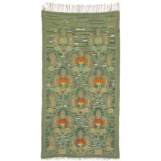 Early 20th Century Green Floral Norwegian Tapestry For Sale