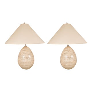 Ovoid Travertine Table Lamps - a Pair For Sale