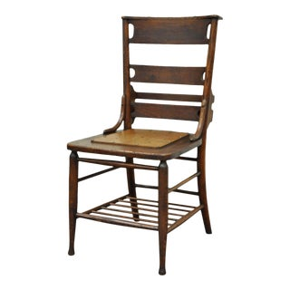 Antique Mission Arts & Crafts Oak Chapel Side Chair Shaker School Student Desk