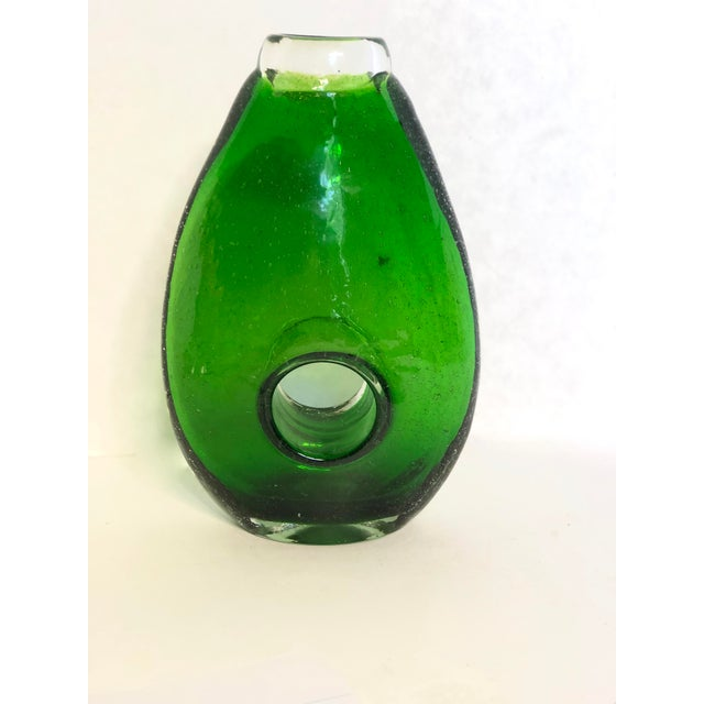 Modern Hand-Blown Green Glass Vase For Sale - Image 6 of 8