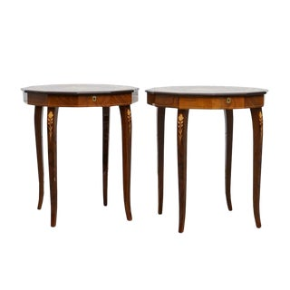 20th Century Italian Renassiance Burl Wood Music Box Tables - a Pair For Sale