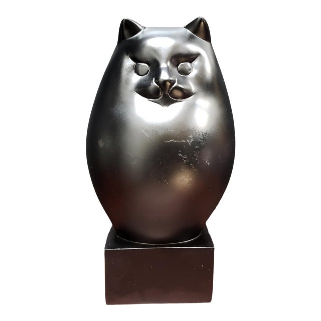 Black Persian Cat Sculpture by Richard H. Recchia Official Repro From Boston Mfa For Sale