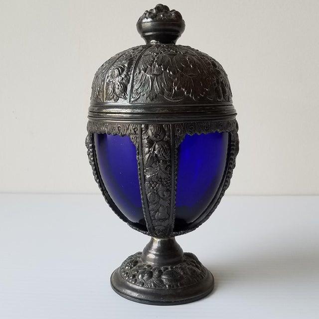 1920s Progress Novelty Casting Works Cobalt Blue Candy Dish For Sale - Image 9 of 13