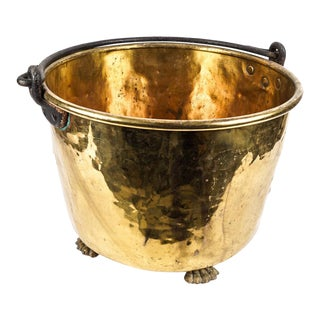 1920s Clawfoot Solid Brass Coal or Firewood Bucket For Sale