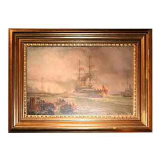 Oil on Canvas, Wilhem Karl Arnesen British Battle Ships