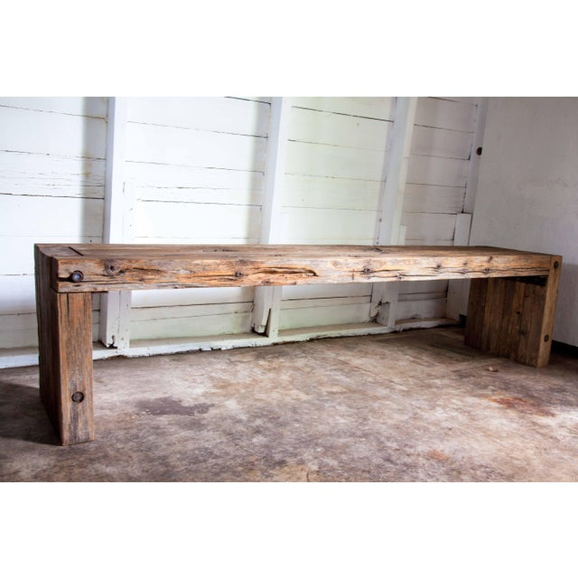 """Contemporary Reclaimed Wood Parsons Dining Entry Bed Bench Coffee Table 70"""" For Sale - Image 3 of 11"""