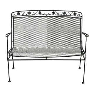 Vintage Mid Century Russell Woodard Wrought Iron Garden Patio Bench Settee For Sale