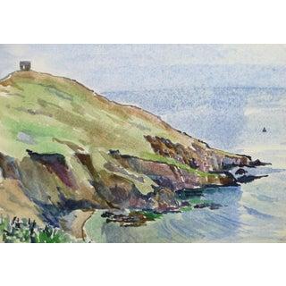 Tae, Vintage Watercolor Seascape - English Coast For Sale