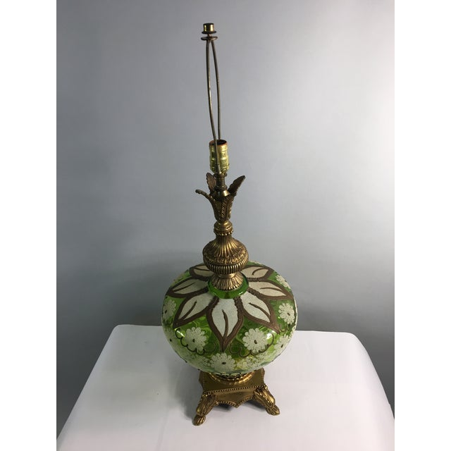 Hollywood Regency Gold & Green Glass Floral Table Lamp - Image 4 of 11