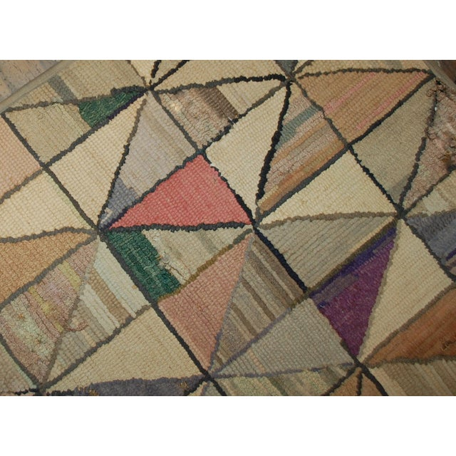 1880s Hand Made Antique Square American Hooked Rug - 2′ × 2′1″ For Sale - Image 4 of 6