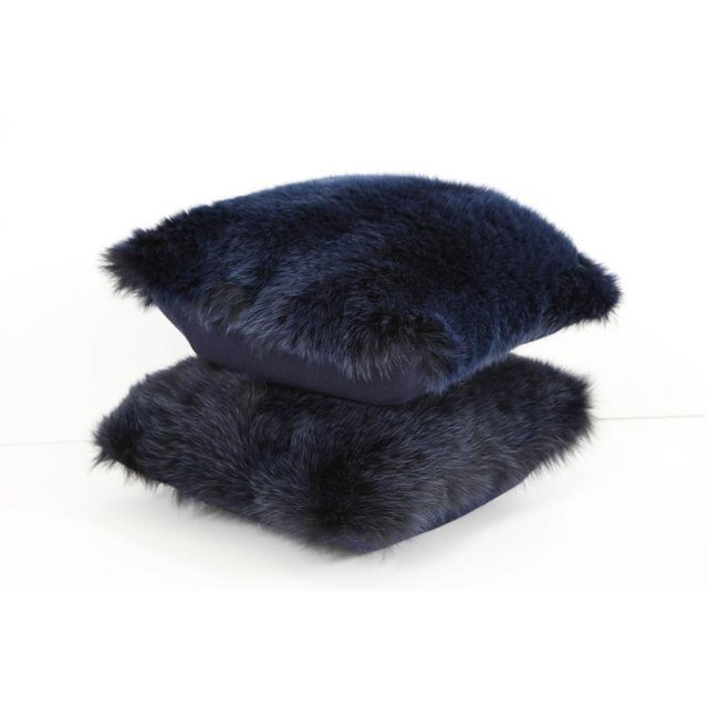 Navy Fur Pillows - A Pair For Sale - Image 4 of 4