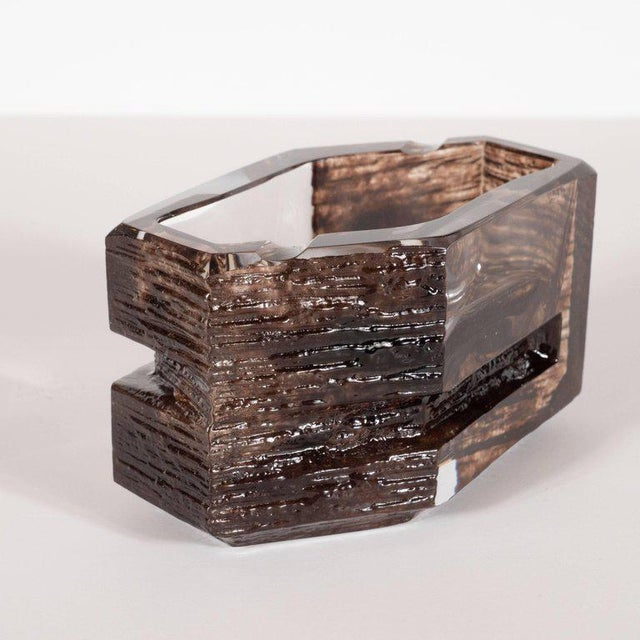 1970s Mid-Century Modern Sculptural Hexagonal Smoked Glass Ashtray or Bowl by Daum For Sale - Image 5 of 8