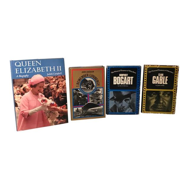 Vintage Queen Elizabeth, Lindbergh, Bogart and Gable Biographies - Set of 4 For Sale