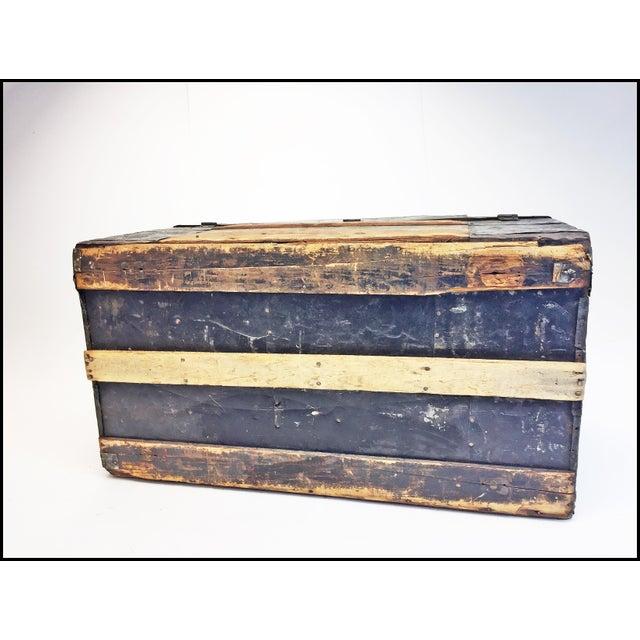 Vintage Rustic Wood Camelback Steamer Trunk For Sale - Image 12 of 13
