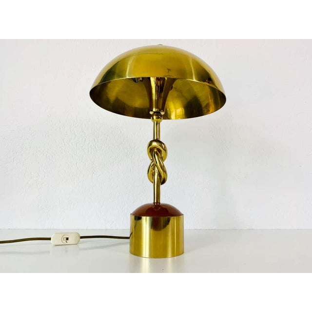 Heavy Italian Midcentury Solid Brass Table Lamp, 1960s, Italy For Sale - Image 12 of 13