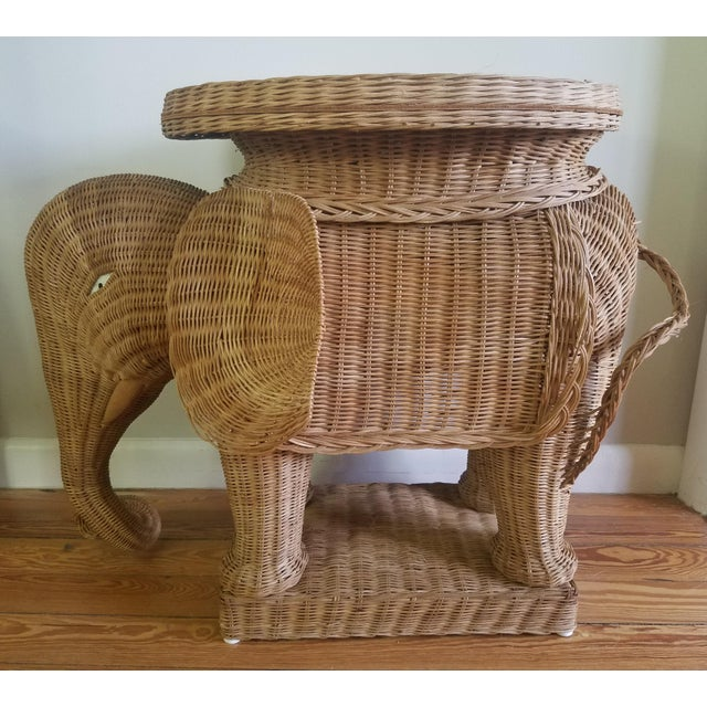1974 Boho Chic Thailand Natural Wicker Elephant Table For Sale - Image 9 of 9