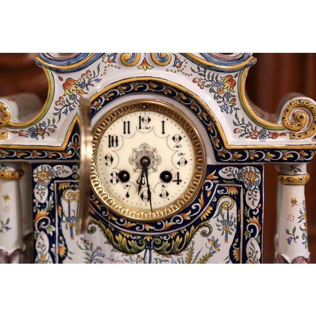 19th Century French Hand-Painted Ceramic Mantel Clock From Rouen For Sale In Dallas - Image 6 of 11