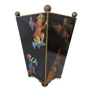 """""""Monkey Business"""" Lacquered Waste Can / Umbrella Holder For Sale"""