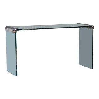 Thick Glass and Chromed Bronze Console by Pace For Sale