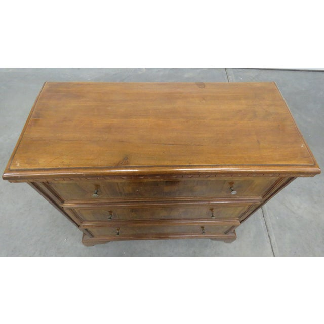 Vintage Italian 3 drawer inlaid commode. Made in the mid 20th century.