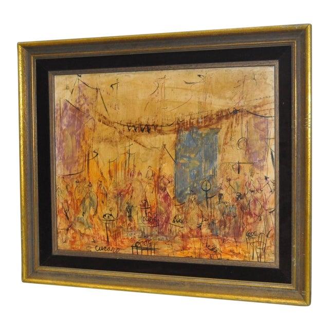 "1970s Vintage Original ""Celebration"" Oil Painting by Pascal Cucaro For Sale"