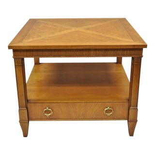 Baker Furniture Regency Style Square Walnut Sunburst Top End Table