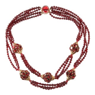 Hattie Carnegie Red Rhinestone Ball and Faux Garnet Bead Necklace Vintage For Sale
