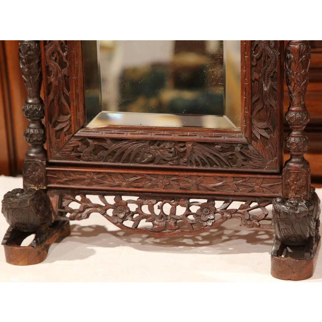 Mid 19th Century 19th Century French Carved Black Forest Free Standing Beveled Glass Mirror For Sale - Image 5 of 7