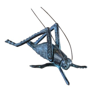 Vintage Bronze Grasshopper Figurine For Sale