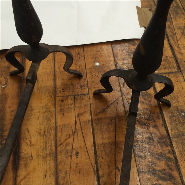 Petite Iron & Brass Andirons - A Pair - Image 4 of 5