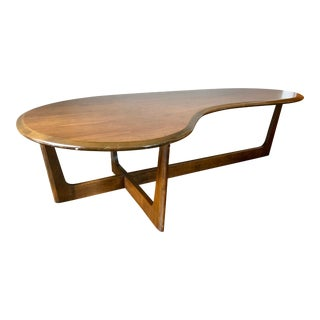 Mid Century Walnut Kidney Coffee Table For Sale