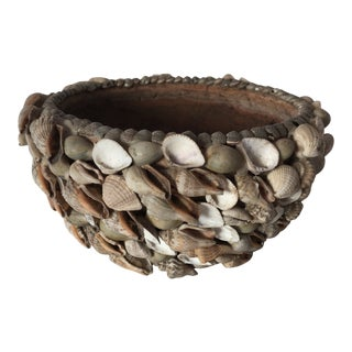 Handmade Sea Shell Encrusted Clay Bowl For Sale
