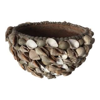 Handmade Sea Shell Encrusted Terracotta Bowl For Sale