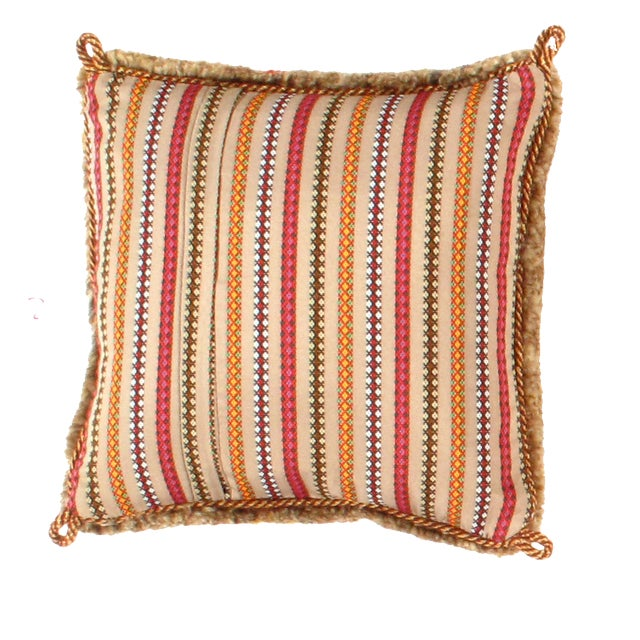 This Gabbeh cushion is made of high-quality old and rare Persian Gabbeh carpets. The piece was crafted with good workmanship.
