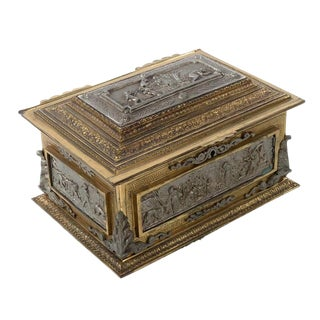Antique Bronze & Mixed Metals Jewelry Box For Sale