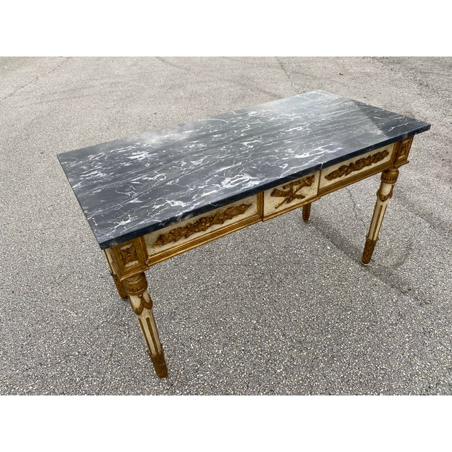 Mid 19th Century Italian Neoclassical Gilt-Wood Console, Marble Top For Sale - Image 5 of 9