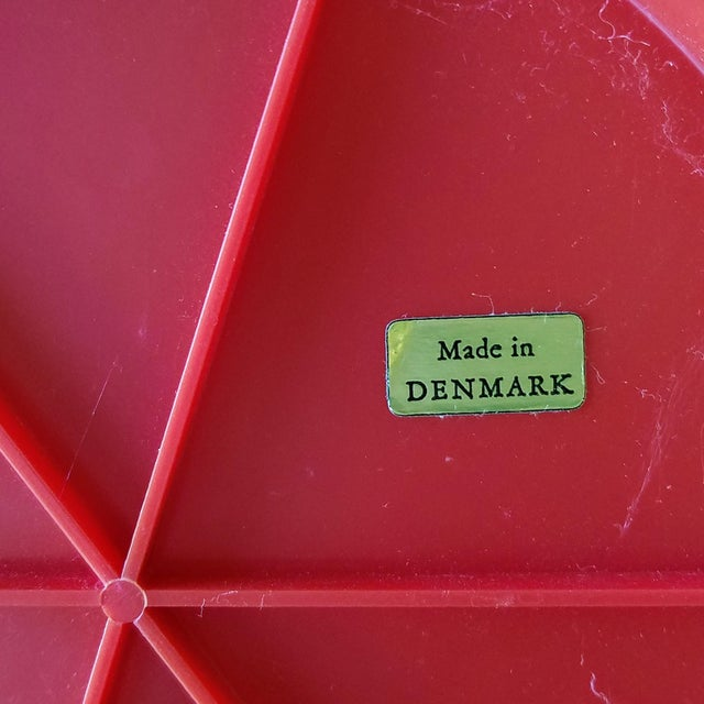 Red 1970s Red Danish Termotex Tilt Table Mirror For Sale - Image 8 of 9