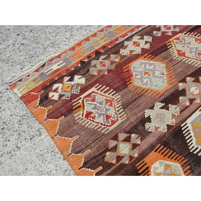 Vintage Turkish Kilim Rug - 5′6″ × 8′7″ For Sale - Image 9 of 11