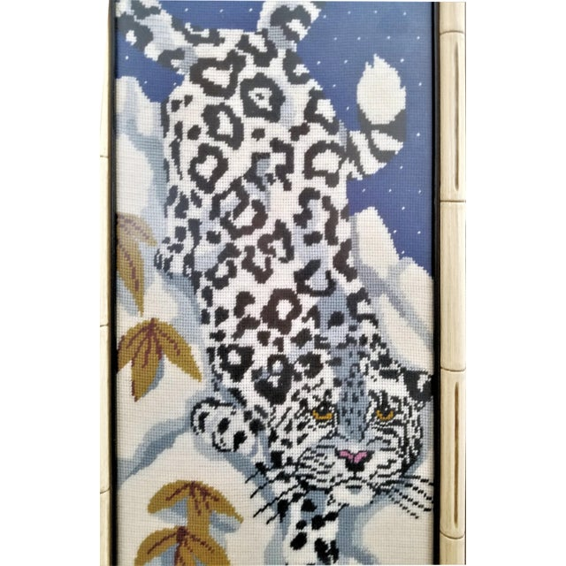 1970s Vintage Chinese Snow Leopard Needlepoint With Faux Bamboo Frame -Signed 1976 - Asian Mid Century Modern Palm Beach Chic Animal Cheetah Tiger For Sale - Image 5 of 12