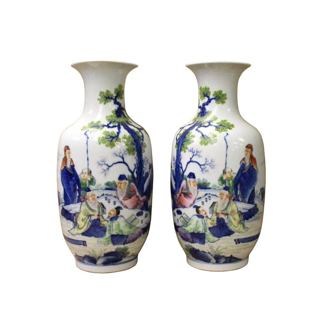 Blue Pair Chinese Oriental Ceramic Porcelain White Color People Graphic Vases For Sale - Image 8 of 8